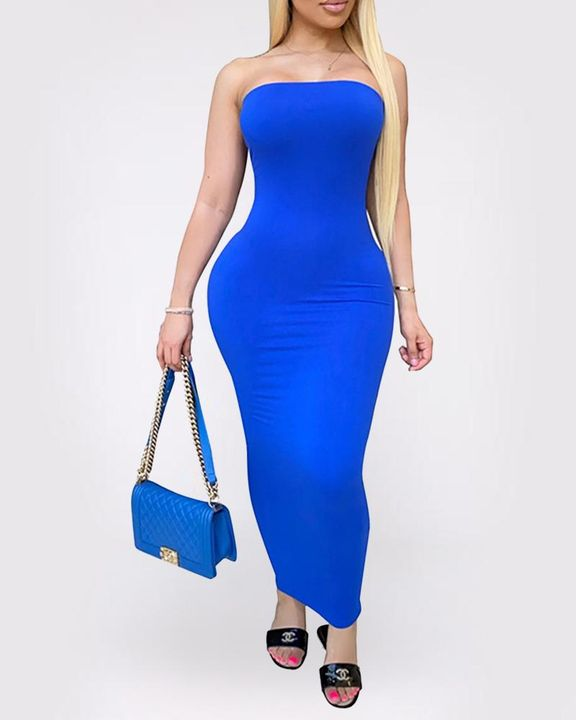 Solid Strapless Tube Maxi Dress gallery 7