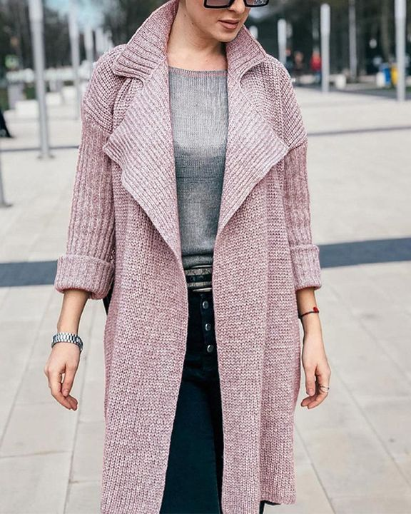 Solid Rib-Knit Open Front Lapel Neck Cardigan gallery 2