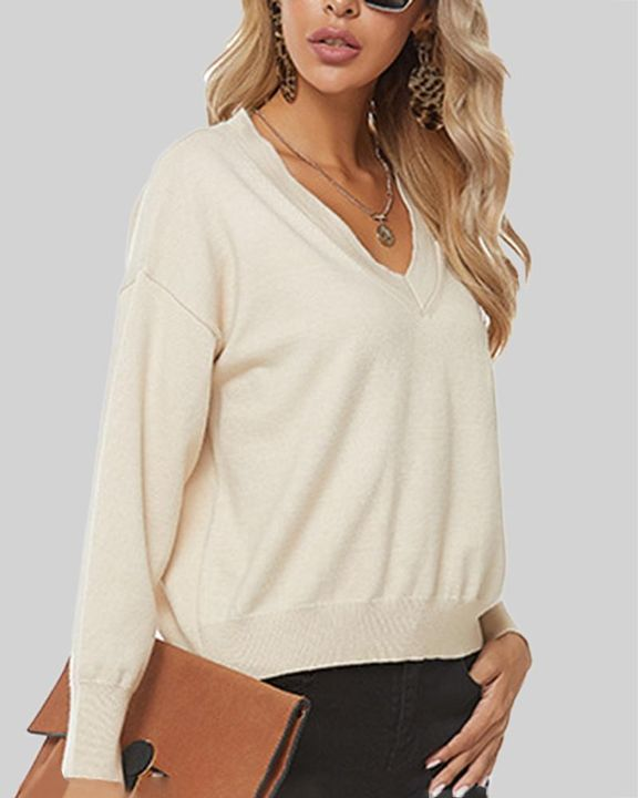 Solid Cutout Asymmetrical V Neck Drop Shoulder Sweater gallery 3