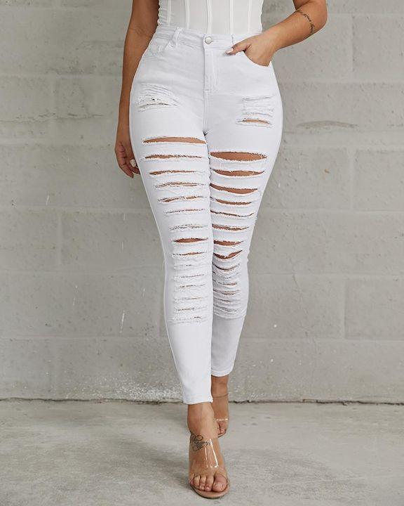 Plus High Waist Ladder Distressed Skinny Jeans gallery 9