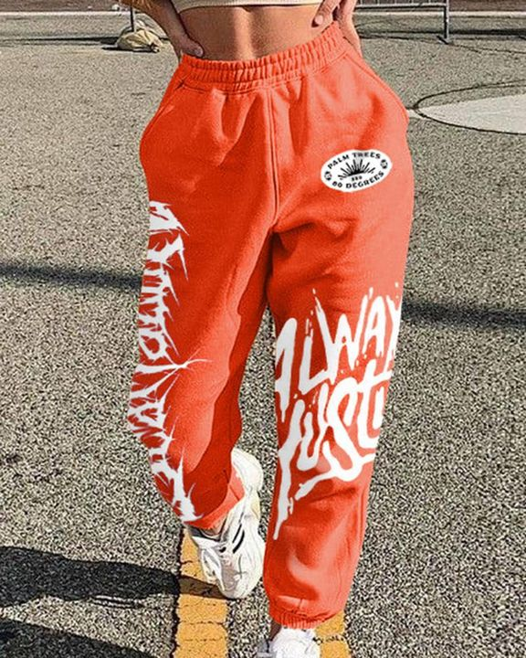 Letter Print Graphic Patch Pocket Decor Sports Pants  gallery 2