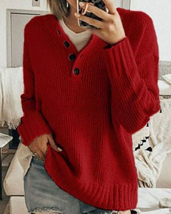 Solid Rib-Knit Button Front Drop Shoulder Sweater gallery 1