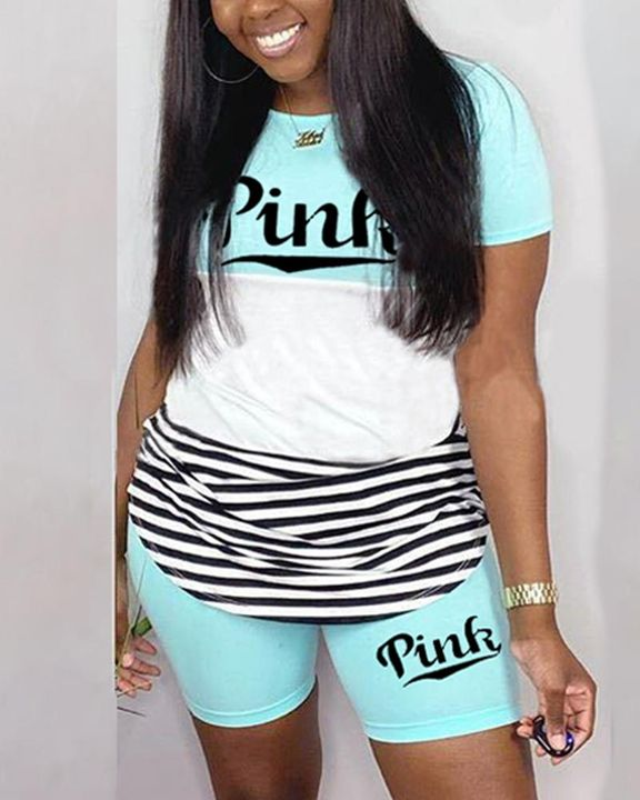 Striped & Letter Print Colorblock Top & Shorts Set gallery 3