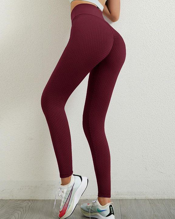 Solid Textured Wide Waistband Scrunch Butt Sports Leggings gallery 8