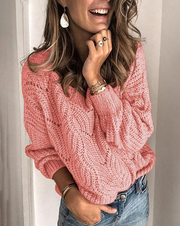 Solid Rib-Knit Hollow Out Sweater gallery 3
