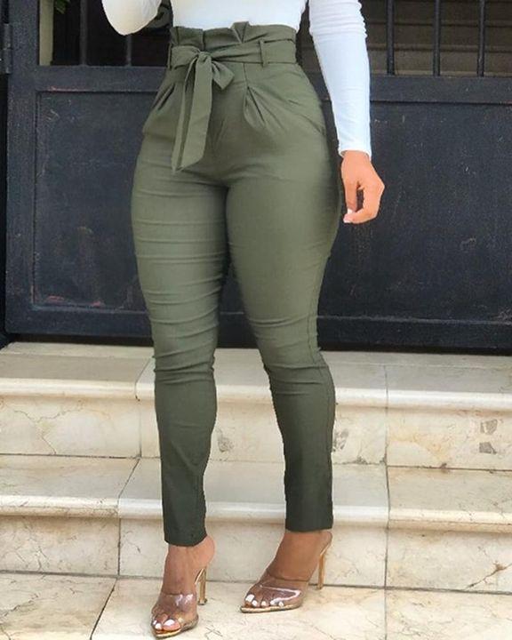 Solid Belt Tie Paperbag Waist Skinny Pants gallery 2