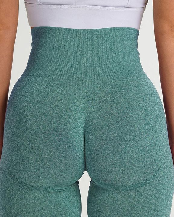 Solid Wide Waistband Contrast Stitch Sports Leggings  gallery 6