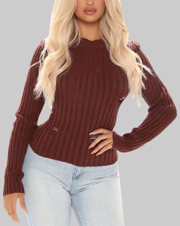Rib Knit Ripped Bodycon Sweater gallery 2