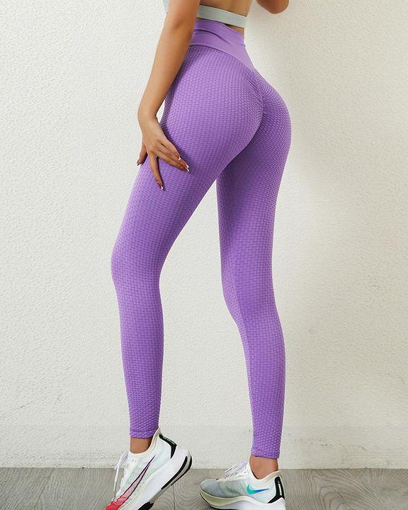 Solid Textured Wide Waistband Scrunch Butt Sports Leggings gallery 1