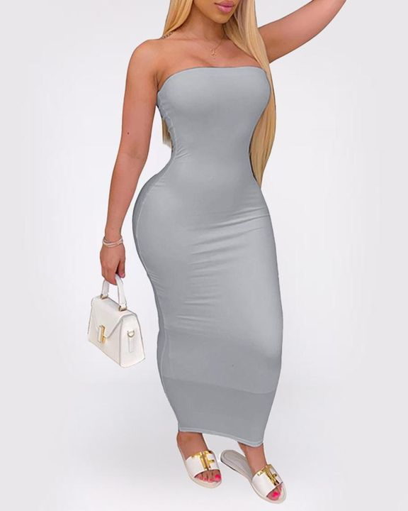 Solid Strapless Tube Maxi Dress gallery 6