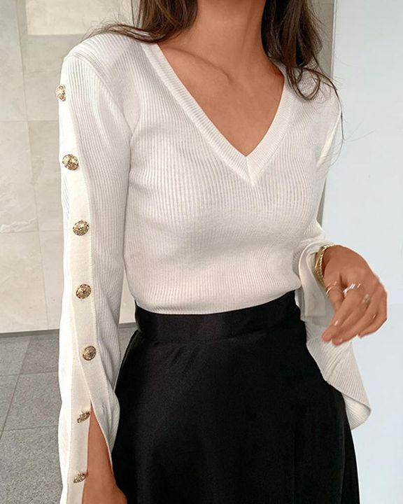 Button Trim Rib Knit Bodycon Sweater gallery 9