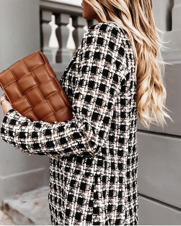 Houndstooth Double Breasted Lapel Neck Coat gallery 15