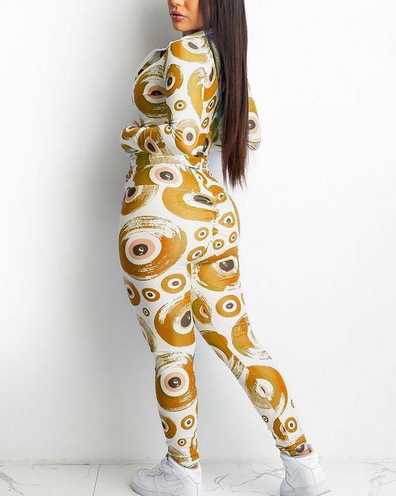 Allover Print Zip Up Drawstring Waist Jacket & Pants Set gallery 6