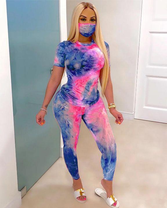 Tie Dye Short Sleeve Top & Pants Set With Mask gallery 4