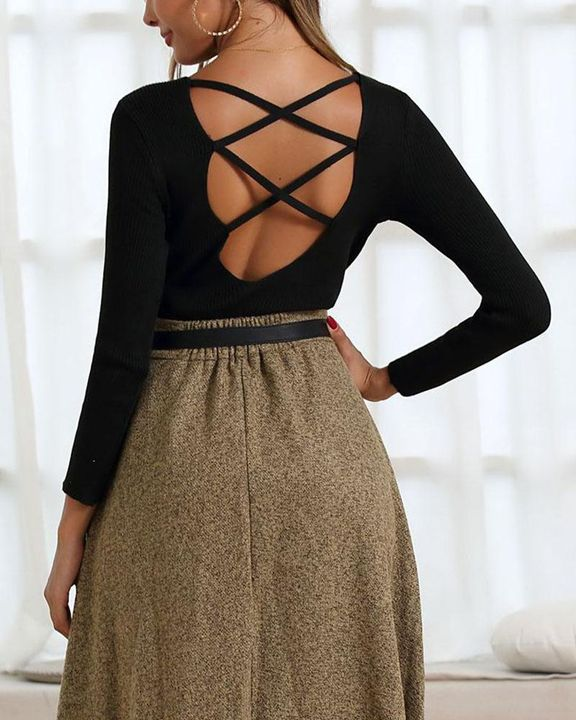 Ribbed Knit Criss Cross Back Bodycon Sweater gallery 9