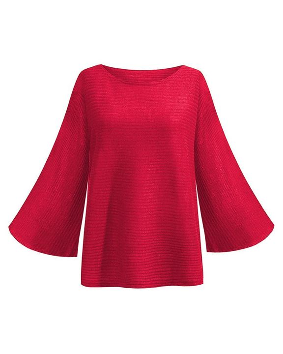 Solid Bell Sleeve Scoop Neck Sweater gallery 7