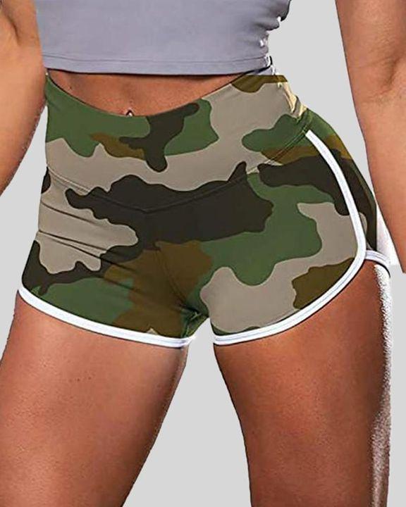 Allover Print Contrast Binding High Waist Sports Shorts gallery 2