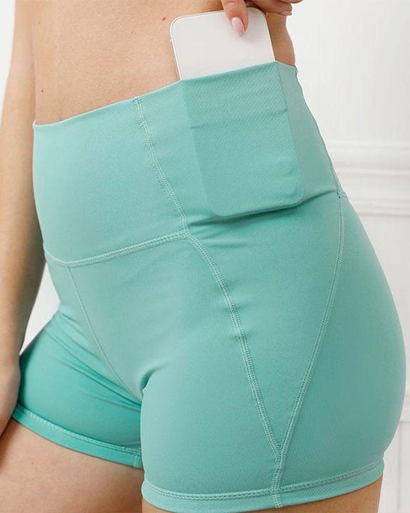 Pocket Decor Wide Waistband Butt Lifting Sports Shorts gallery 2