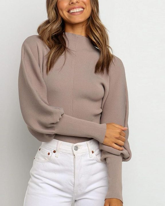 Solid Ribbed Leg-of-mutton Sleeve Sweater gallery 1