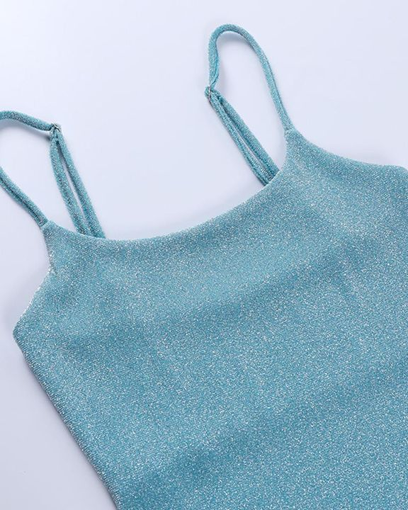 Solid Glitter Form Fitted Cami Bodysuit gallery 9