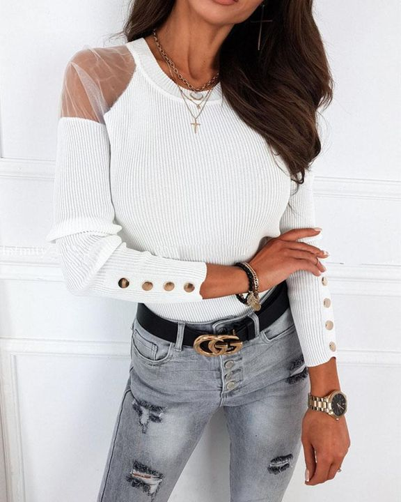 Solid Studded Button Ribbed Mesh Cold Shoulder Sweater gallery 8