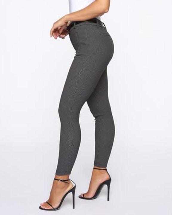 Plaid  Slant Pocket Self-Belted Mid Rise Pants gallery 4