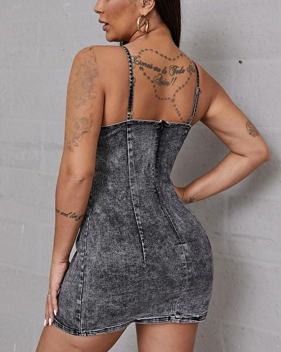 Plus Lace Up Front Cami Denim Dress gallery 3
