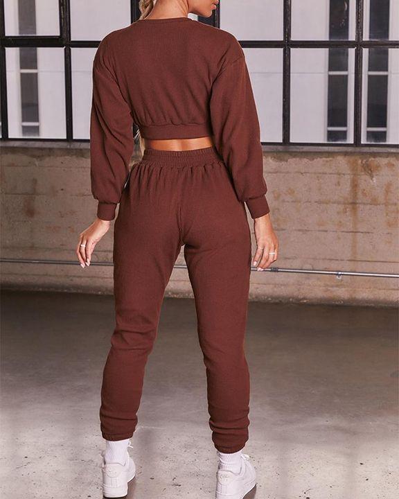 Solid Ribbed Long Sleeve Crop Top & Pants Set gallery 10