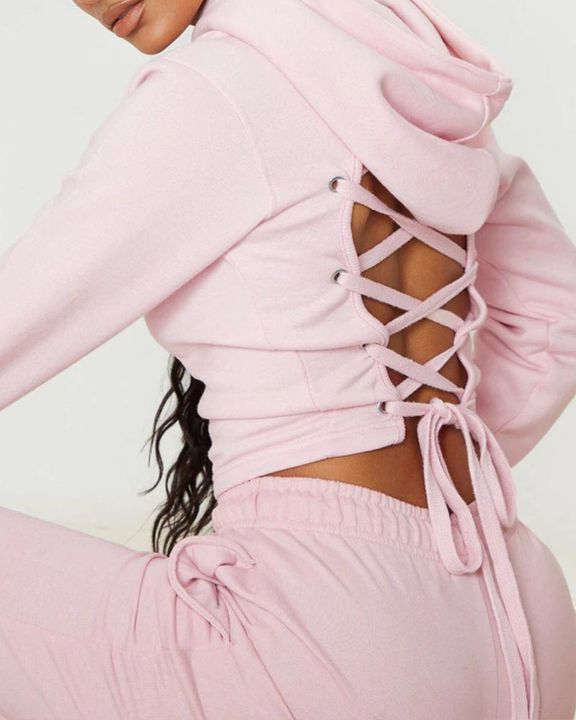 Lace Up Hollow Out Back Crop Hoodie gallery 1