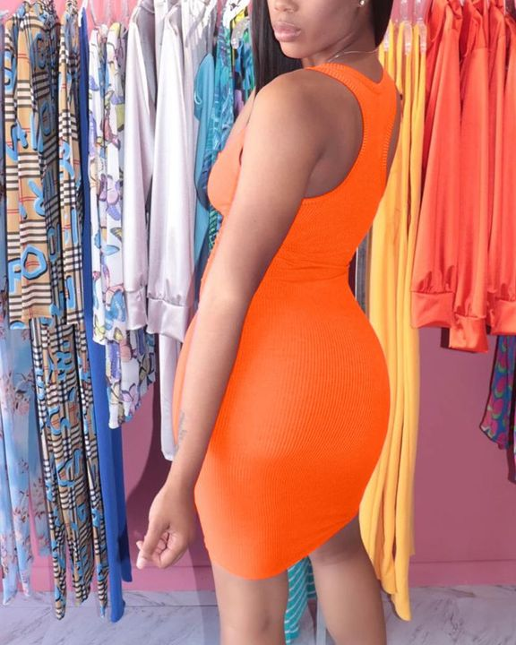Solid Rib-Knit Notched Neck Short Dress gallery 10