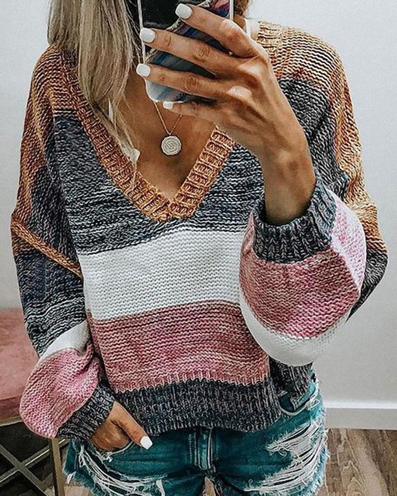 Colorblock Mixed Knit Drop Bishop Sleeve Sweater gallery 4
