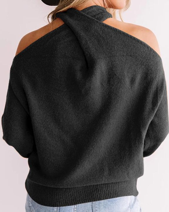 Solid Cold Shoulder Rib Knit Sweater gallery 12