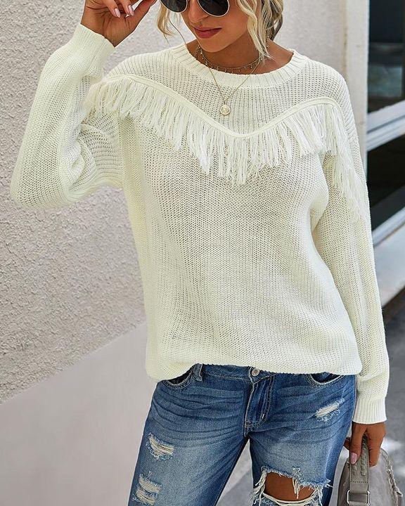 Solid Fringe Trim Drop Shoulder Sweater gallery 5