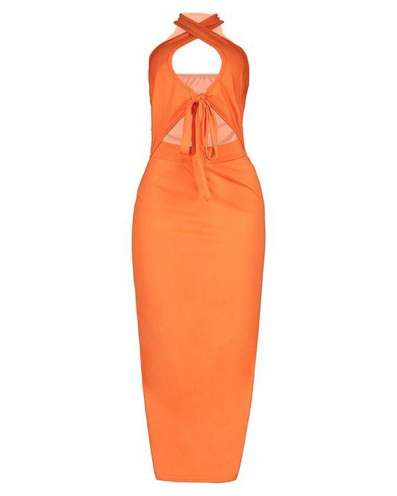 Criss Cross Cutout Self-Tie Sleeveless Maxi Dress gallery 10