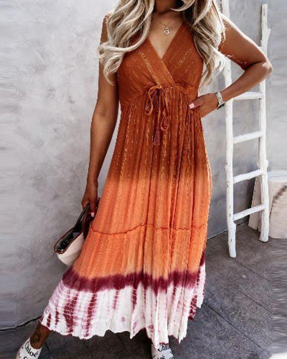 Tie Dye Metallic Tassel Knot Frill Trim Cami Long Dress gallery 3
