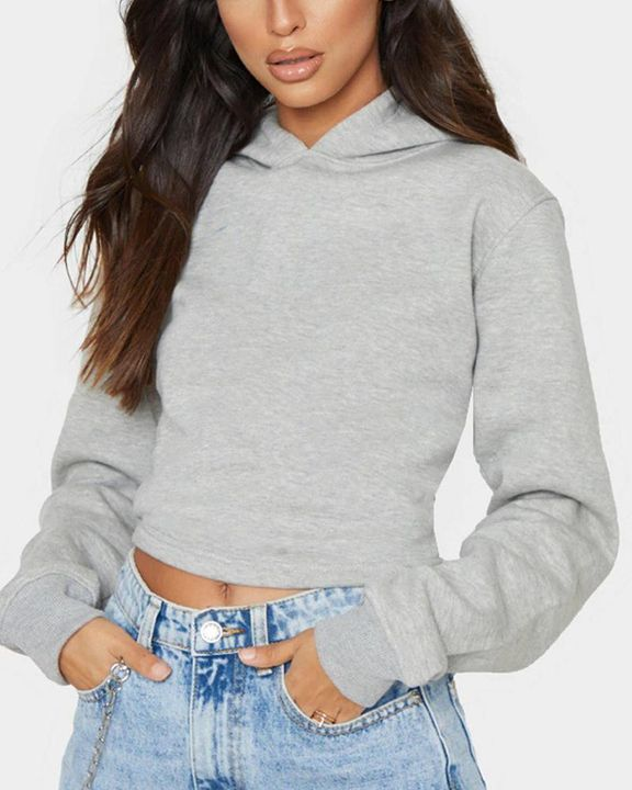 Lace Up Hollow Out Back Crop Hoodie gallery 10