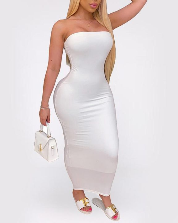 Solid Strapless Tube Maxi Dress gallery 3