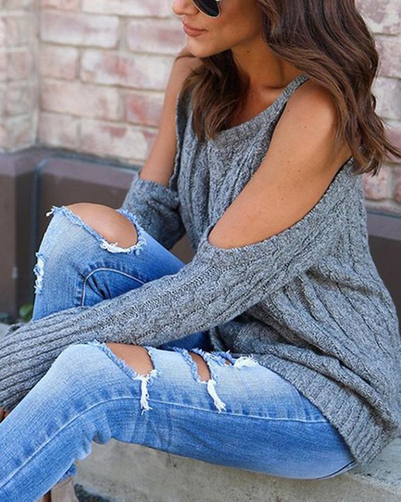 Cable Knit Cold Shoulder Sweater gallery 4