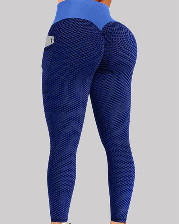 Textured Pocket Detail Wide Band Waist Sports Leggings gallery 1