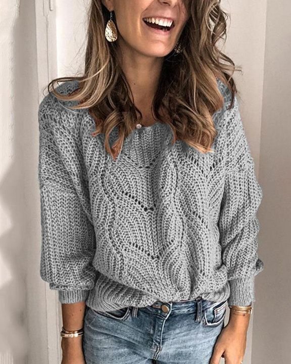 Solid Rib-Knit Hollow Out Sweater gallery 5