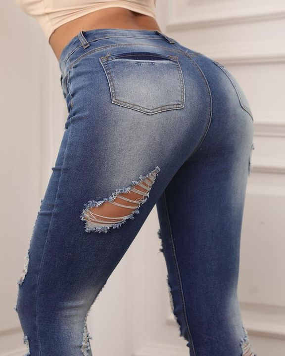 Knee Distressed Butt Lifting Skinny Jeans gallery 5