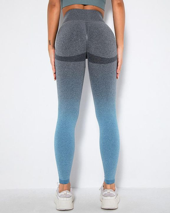 Ombre Space Dye Seamless Butt Lifting Sports Leggings gallery 3