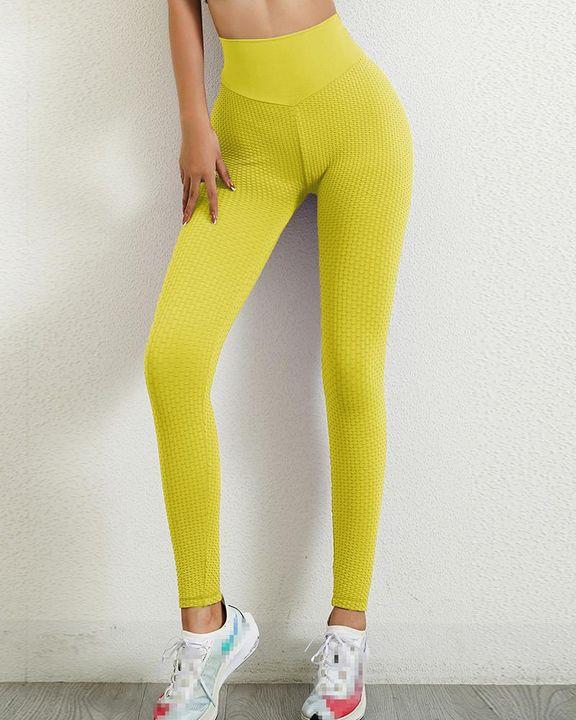 Solid Textured Wide Waistband Scrunch Butt Sports Leggings gallery 12