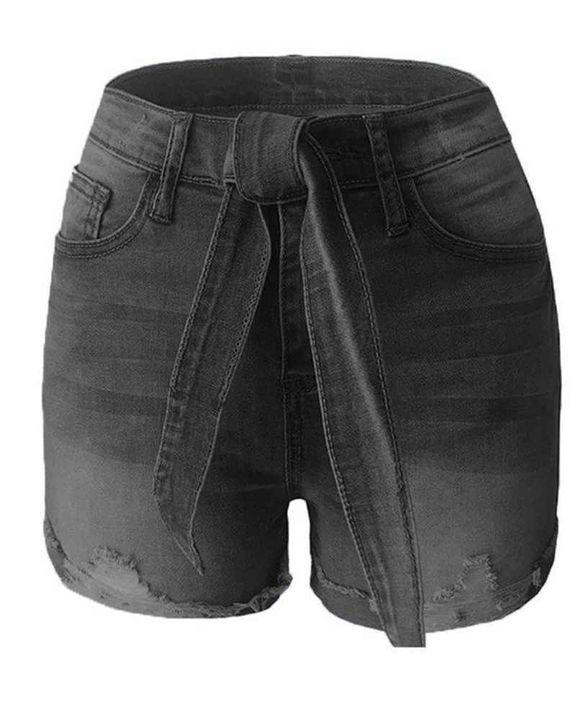 Tie Waist Roll Up Hem Skinny Denim Shorts gallery 12