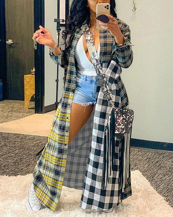 Plaid Print Button Front Long Sleeve Coat gallery 1