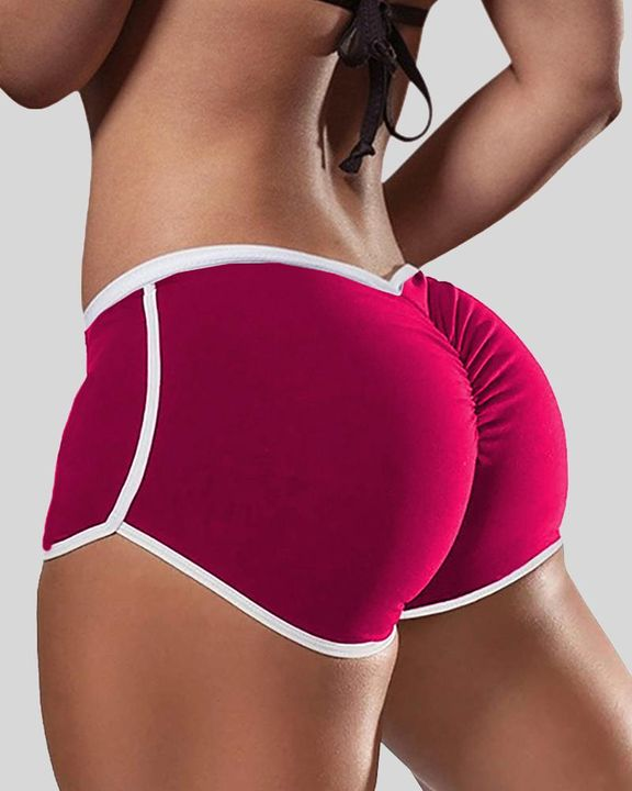 Solid Contrast Binding Ruched Shorts gallery 3