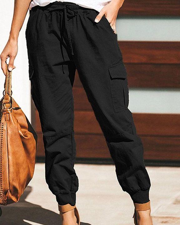 Drawstring Waist Flap Pocket Sports Pants gallery 2