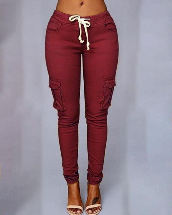 Solid Pocket Detail Drawstring Front Pants gallery 4