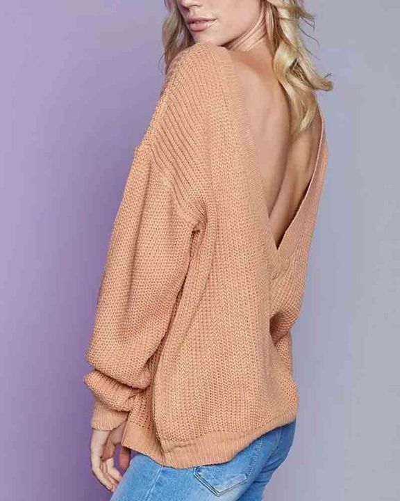 Chunky Knit Cutout Back Drop Shoulder Sweater gallery 4
