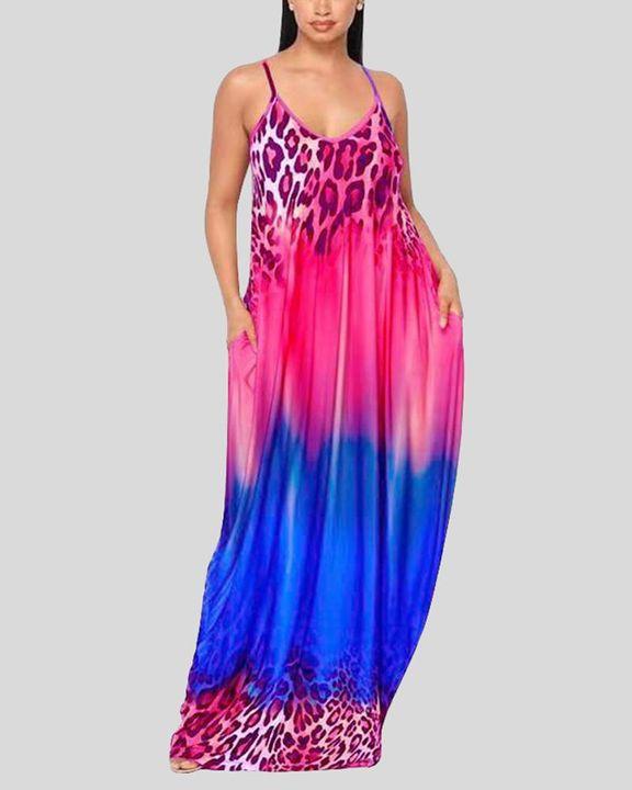 Ombre Leopard Print Cami Maxi Dress gallery 4